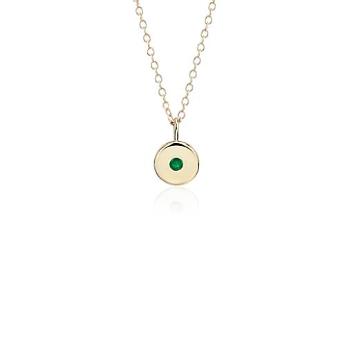 NEW Mini Emerald Birthstone Charm Pendant in 14k Yellow Gold - May (2mm)