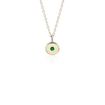 Mini Emerald Birthstone Charm Pendant in 14k Yellow Gold - May (2mm)
