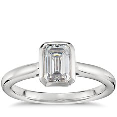 Emerald Cut Bezel Set Solitaire Engagement Ring in Platinum