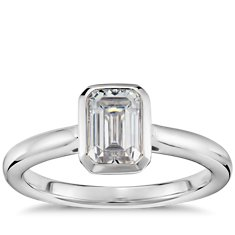 Emerald Cut Bezel Set Solitaire Engagement Ring in 14k White Gold