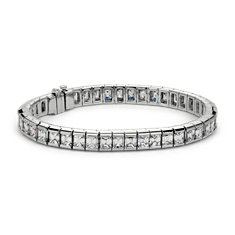 Bezel-Set Emerald Cut Diamond Tennis Bracelet in 18k White Gold (15.68 ct. tw.)