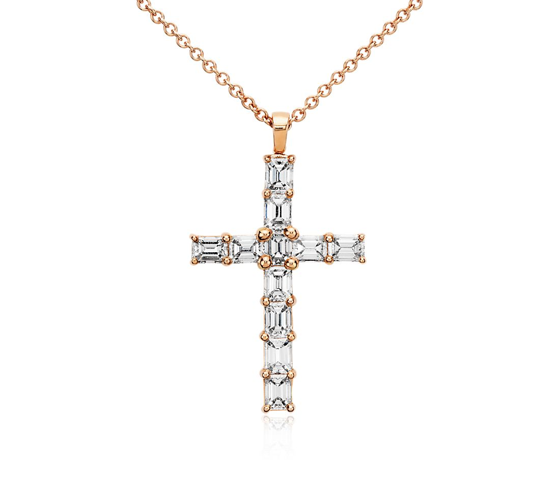 Emerald Cut Diamond Cross Pendant in 18k Rose Gold (2 ct. tw.)