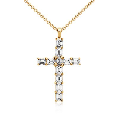 Emerald Cut Diamond Cross Pendant in 18k Yellow Gold (2 ct. tw.)