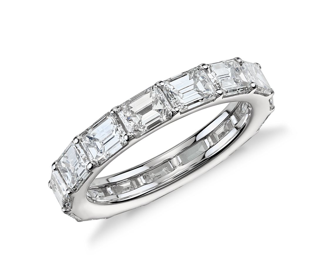 emerald cut eternity ring in 18k white gold 4 ct
