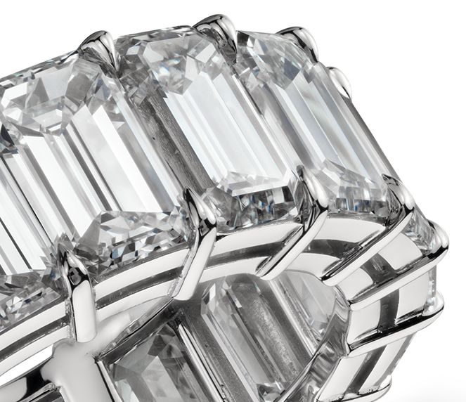 Emerald Cut Diamond Eternity Ring in Platinum (10.00 ct. tw.)