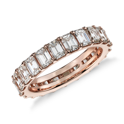 Emerald Cut Diamond Eternity Ring In 18k Rose Gold 3 50