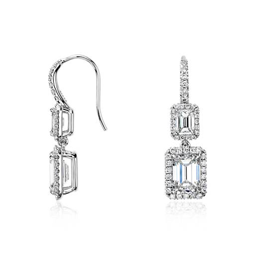 Emerald-Cut Diamond Halo Double Drop Earrings in 18k White Gold