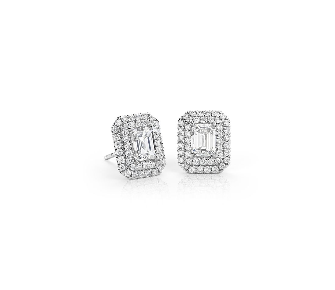 Emerald-Cut Diamond Double Halo Earrings in 18k White Gold (1.50 ct. tw.)