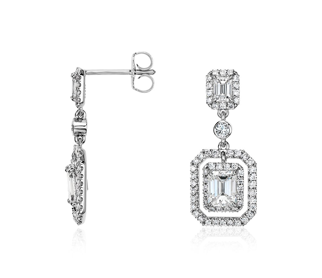 Emerald-Cut Diamond Halo Double Drop Earrings in 18k White Gold (2.30 ct. tw.)