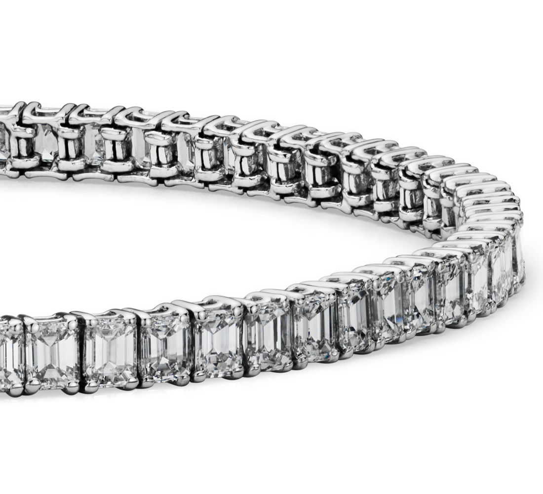 Emerald Cut Diamond Tennis Bracelet in Platinum (7.50 ct tw)