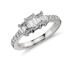Emerald Cut Three Stone Pavé Diamond Ring in Platinum (1.36 ct.tw.)