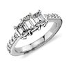 Emerald Cut Three Stone Pavé Diamond Ring in Platinum (1.36 ct.tw.)