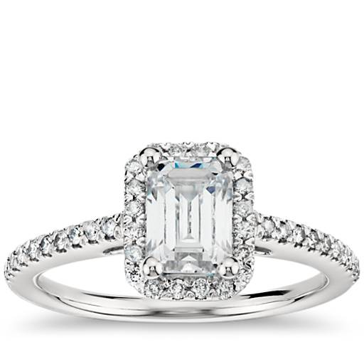 Emerald Cut Halo Diamond Engagement Ring in 14K White Gold ...