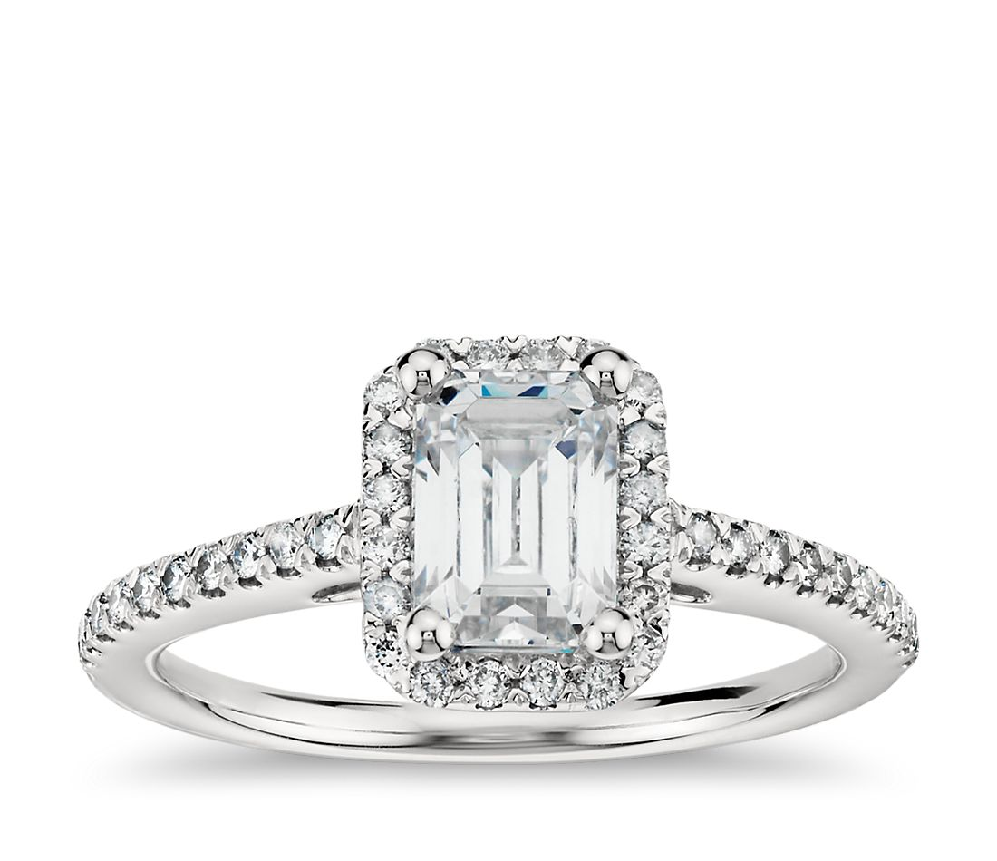 Emerald Cut Halo Diamond Engagement Ring in 18k White Gold