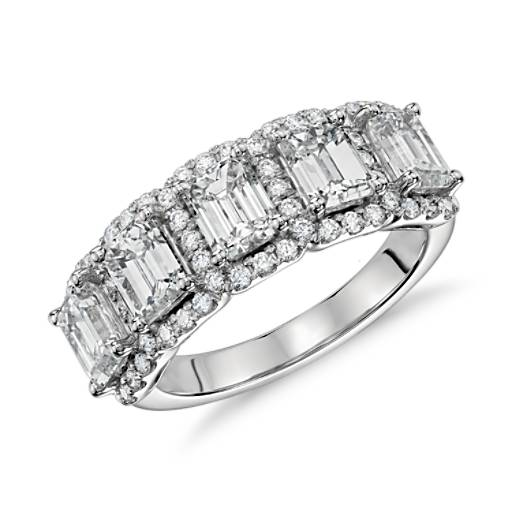 Emerald-Cut Five Stone Halo Diamond Ring in Platinum