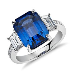 Emerald-Cut Sapphire and Diamond Three-Stone Ring in Platinum (7.65 ct)