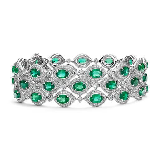 Bracelet Trio Halo Emeraude et Diamant en or blanc 18carats (6x4mm)