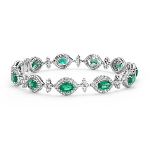 Bracelet halo de diamants et émeraude ovale en or blanc 18carats (4,24carats, poids total)