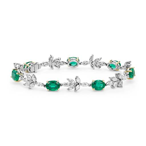 Emerald and Diamond Bracelet in 18k White and Yellow Gold