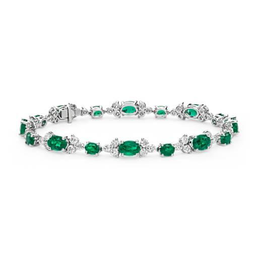 Emerald and Diamond Bracelet in 18k White Gold