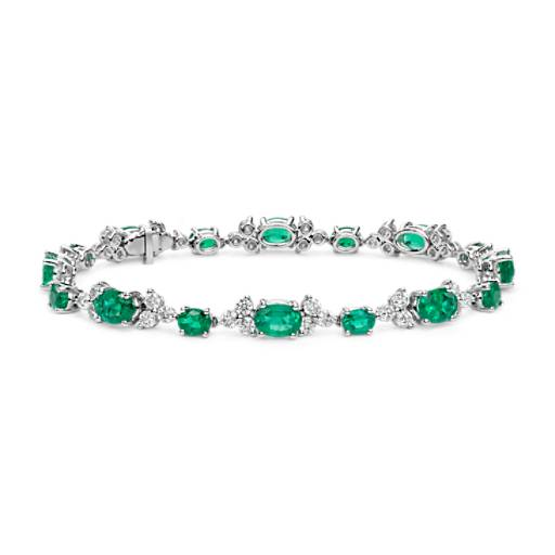 Emerald and Diamond Bracelet in 18k White Gold (7x5mm)