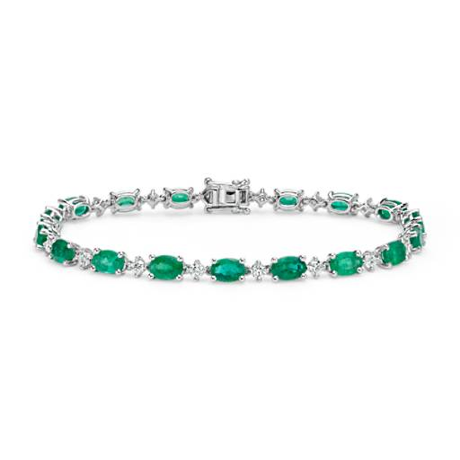 Emerald and Diamond Bracelet in 18k White Gold (6x4mm)