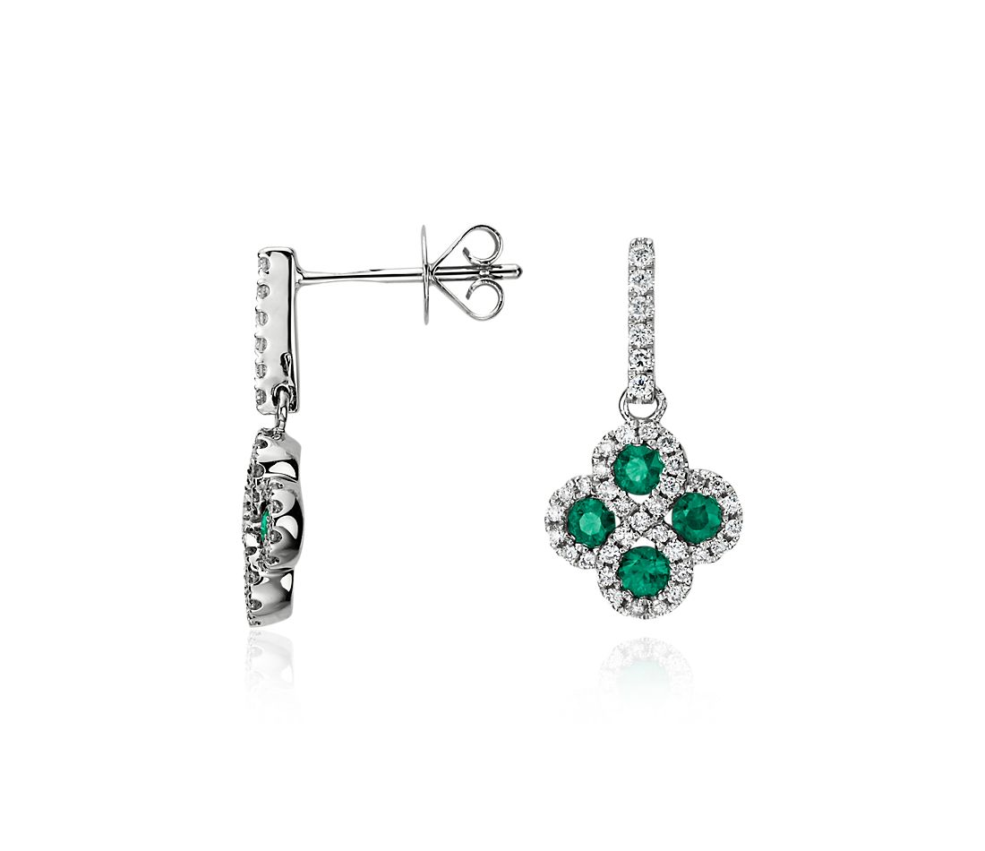 emerald and drop earrings in 14k white gold blue