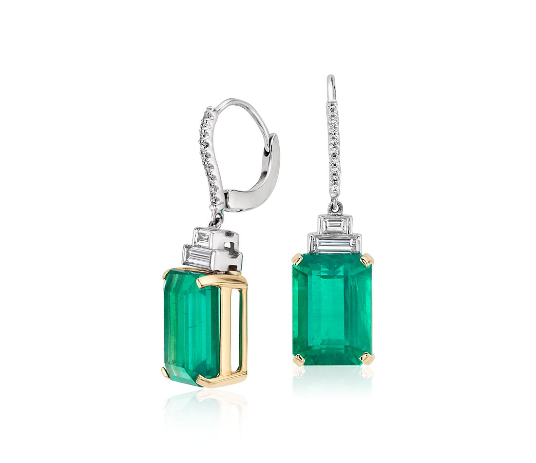 Emerald Diamond Drop Earrings in 18k White and Yellow Gold (12.2 cts)