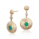 Emerald and Diamond Earrings in Brushed 18k Yellow Gold (5mm)