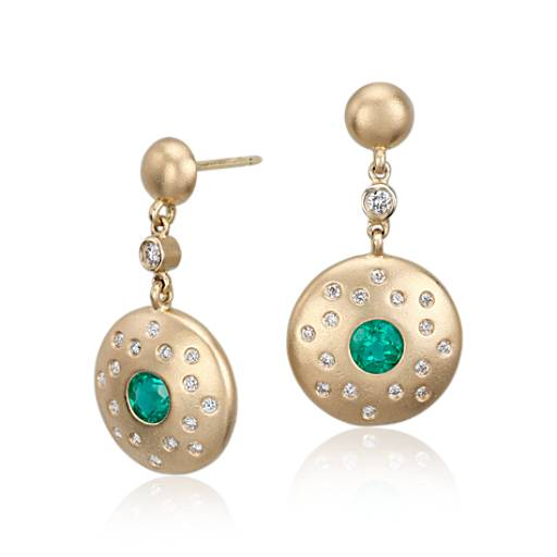 Emerald and Diamond Earrings in Brushed 18k Yellow Gold