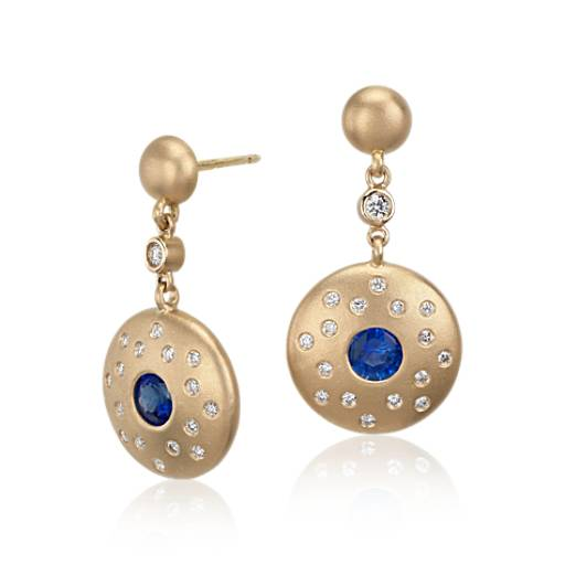 Sapphire and Diamond Earrings in Brushed 18k Yellow Gold (5mm)