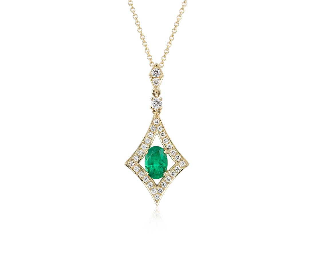 Emerald and Diamond Halo Drop Pendant in 18k Yellow Gold (7x5mm)