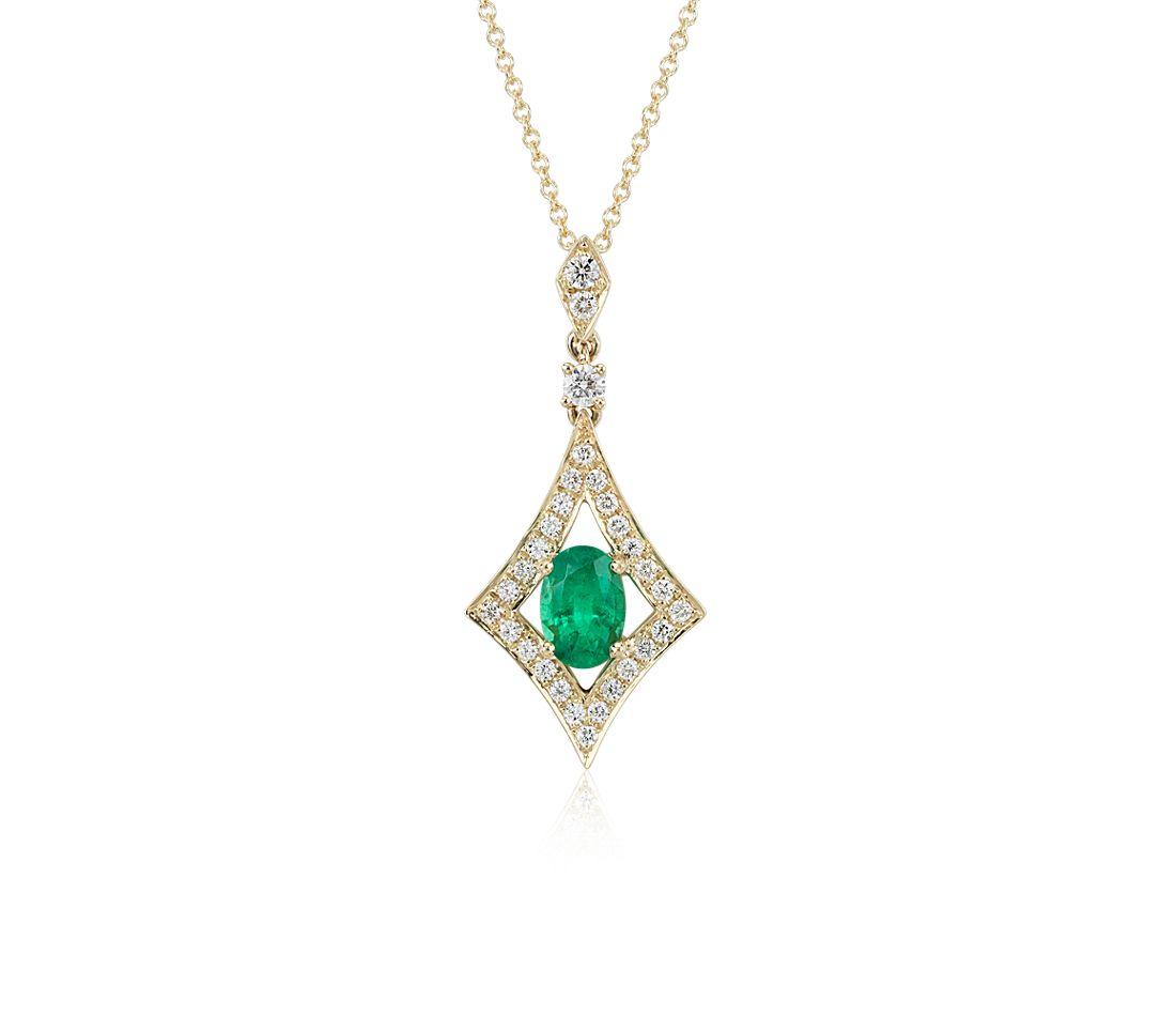 Pendentif halo de diamants et émeraudes en or jaune 18carats (7x5mm)