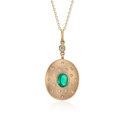 Emerald and Diamond Pendant in Brushed 18k Yellow Gold