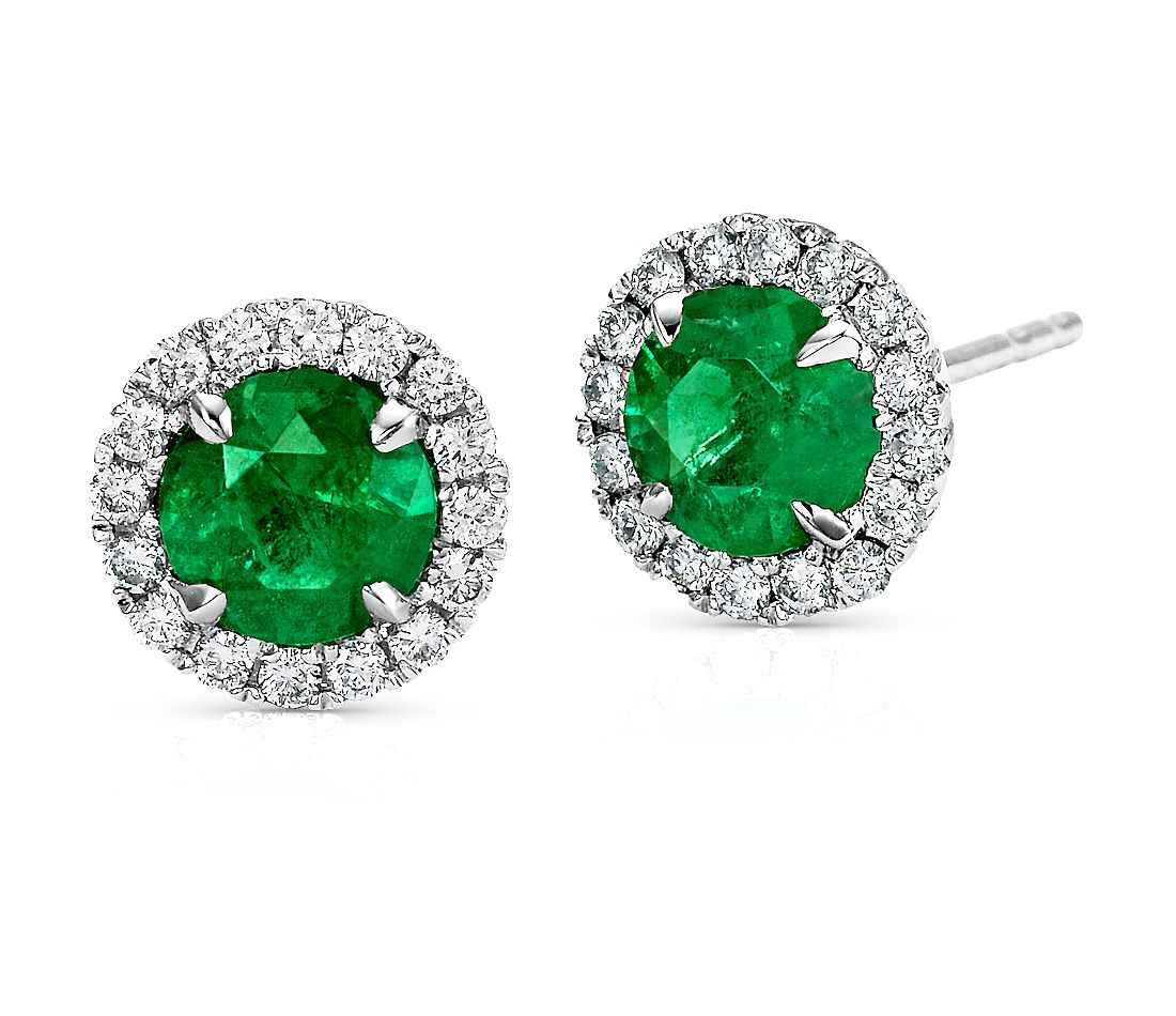 Emerald and Micropavé  Diamond Earrings in 18k White Gold (5mm)