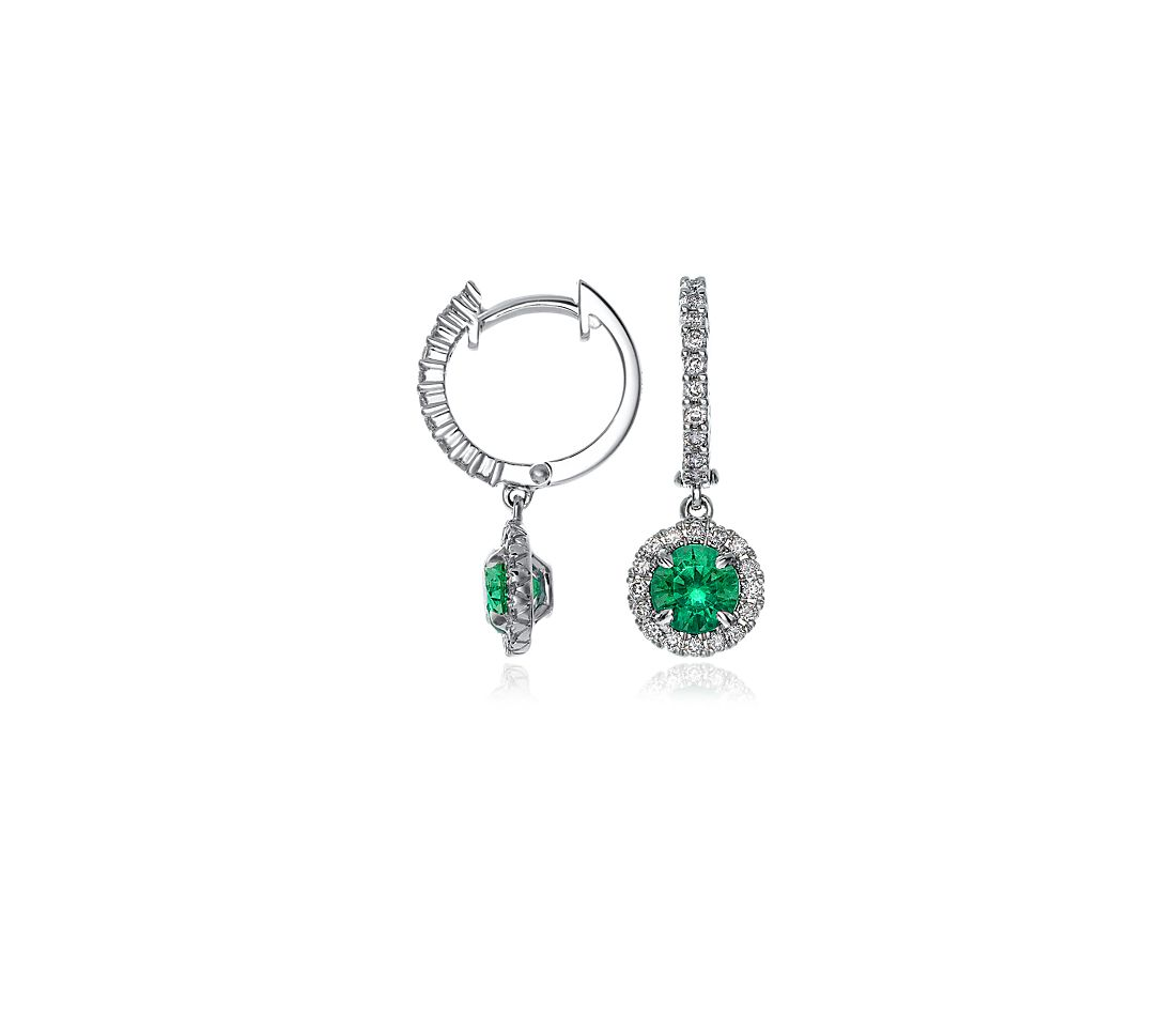 Emerald and Diamond Drop Earrings in 18k White Gold (5mm)
