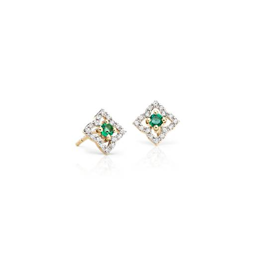 NEW Petite Emerald Floral Stud Earrings in 14k Yellow Gold