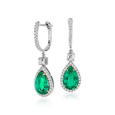 Pear Shape Emerald and Diamond Drop Earrings in 18k White and Yellow Gold (3.86 ct) (10.6x7mm)