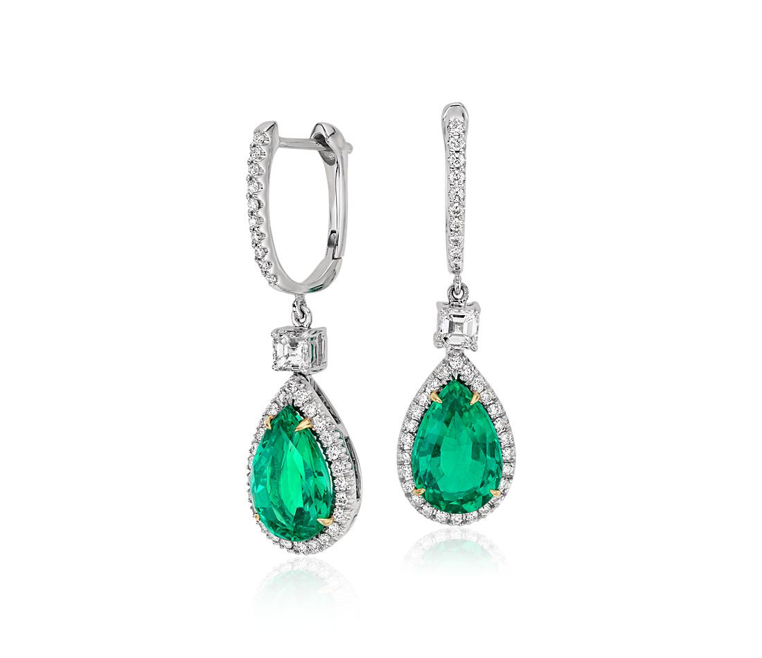 Pear Shape Emerald and Diamond Drop Earrings in 18k White and Yellow Gold (3.86 ct)