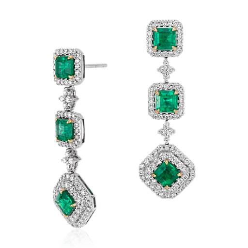 Square Cut Emerald and Diamond Triple Drop Earrings in 18k White and Yellow Gold (3.77 ct. tw. centers)