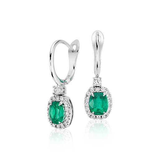 Cushion Emerald and Diamond Drop Earrings in 18k White Gold (6x5mm)