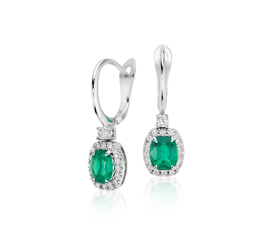 cushion emerald and drop earrings in 18k white