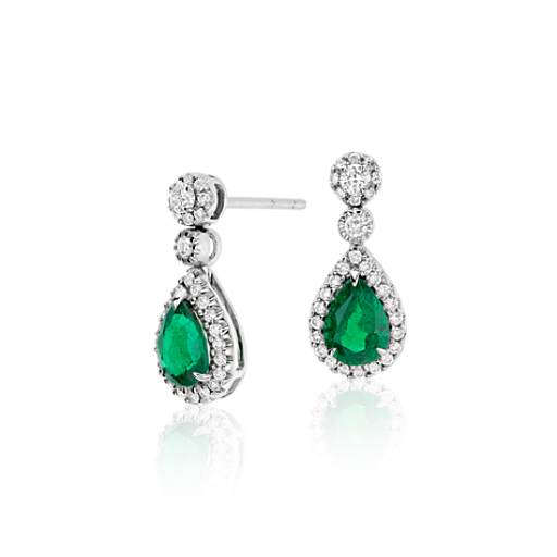 Pear Shape Emerald and Diamond Pavé Drop Earrings in 18k White Gold