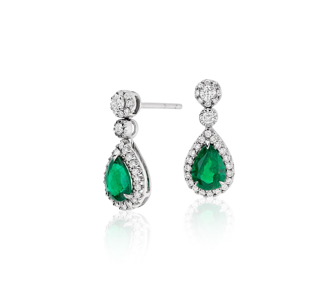 Pear Shape Emerald and Diamond Pave Drop Earrings in 18k White Gold