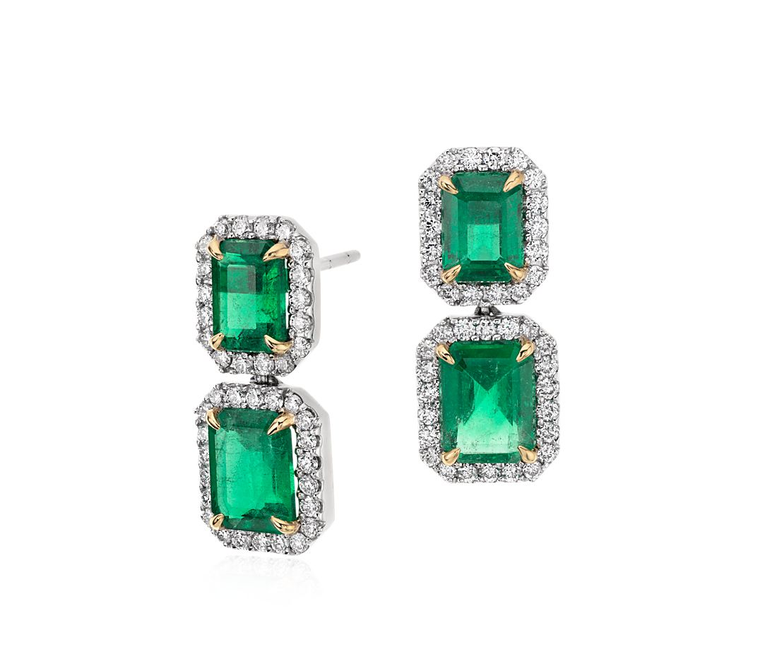 Emerald-Cut Emerald Diamond Pavé Drop Earrings in 18k White Gold