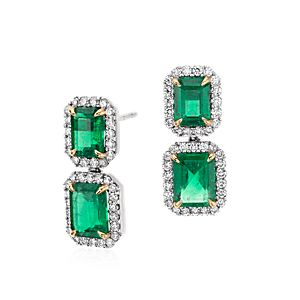 Emerald-Cut Emerald Diamond Pavé Drop Earrings in 18k White Gold (4.77 ct. center)