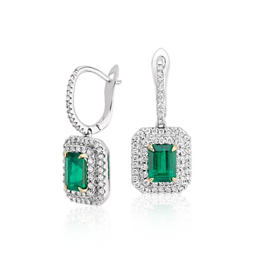 Emerald-Cut Emerald  and Diamond Double Halo Drop Earrings in 18k White Gold
