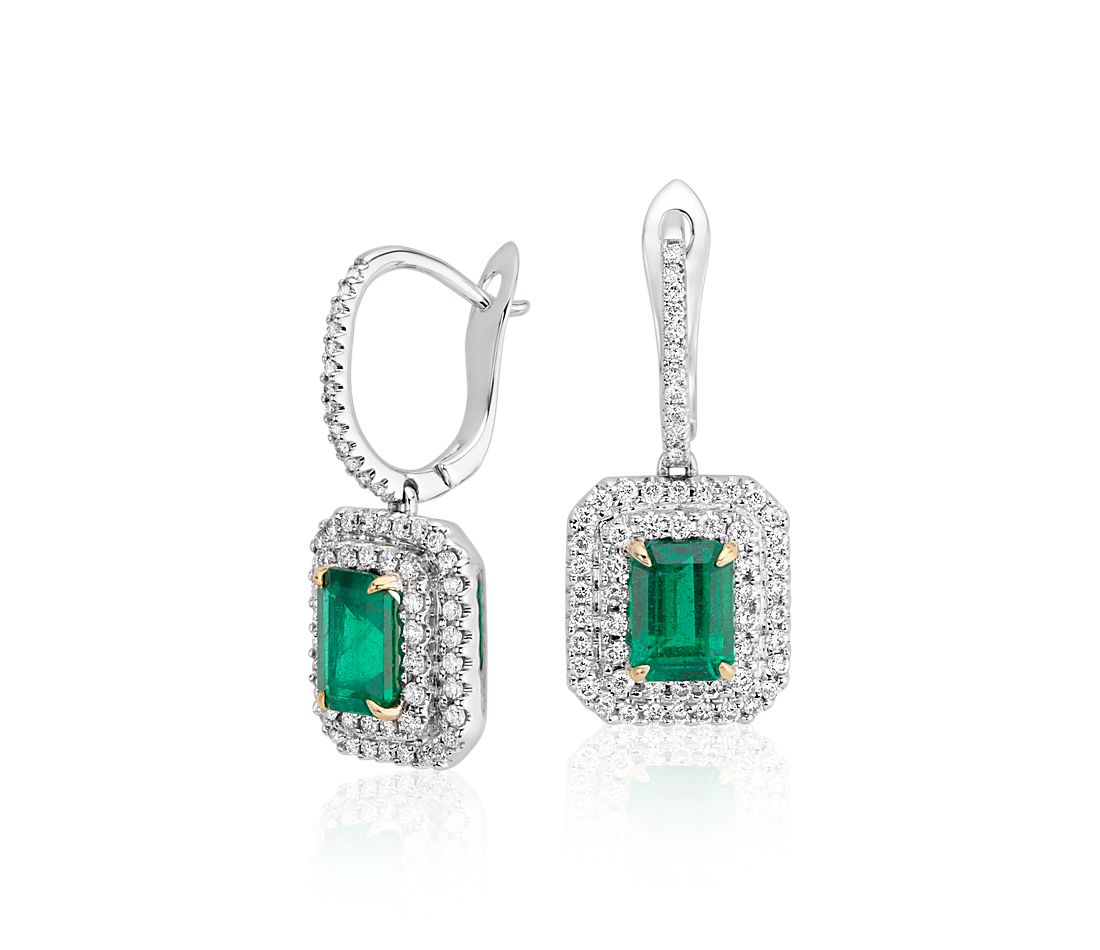 Emerald-Cut Emerald  and Diamond Double Halo Drop Earrings in 18k White Gold (7x5mm)