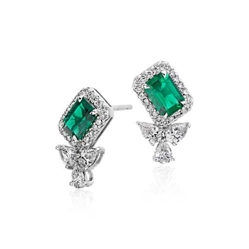 Emerald and Diamond Halo Stud Earrings in 18k White Gold (7x5mm)
