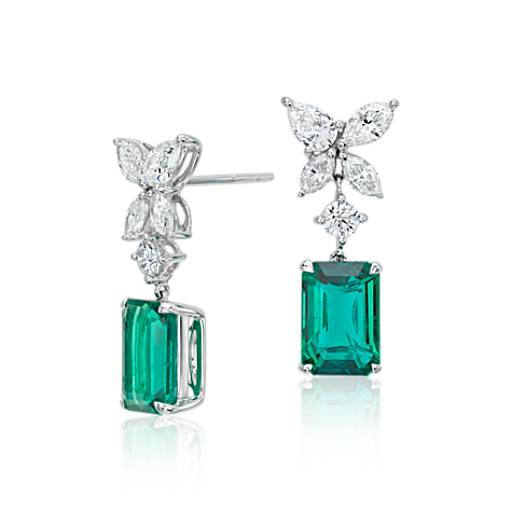 Emerald and Diamond Drop Earrings in 18k White Gold (3.98 ct. tw.) (9.4x6.5mm)